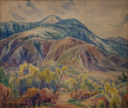"Elisabeth Spalding, ""Snow Sprinkled Hills Near Manitou (Colorado)"", watercolor painting fine art for sale purchase buy sell auction consign denver colorado art gallery museum 1921"