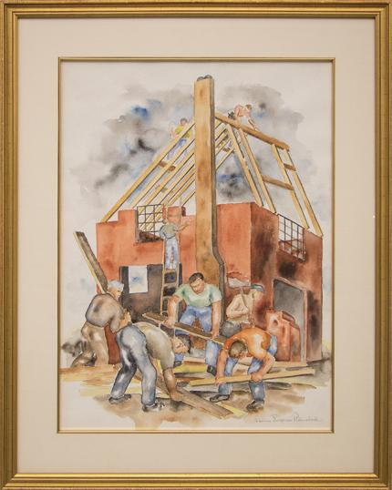 "Louise Emerson Ronnebeck, ""Building Boom"", watercolor, 1937 painting fine art for sale purchase buy sell auction consign denver colorado art gallery museum"