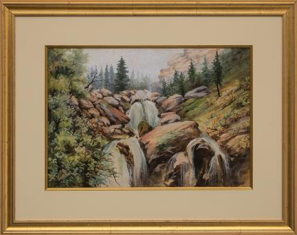 "Maude Leach, ""Untitled (Mountain River)"", gouache painting fine art for sale purchase buy sell auction consign denver colorado art gallery museum"