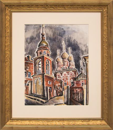"""Eve Drewelowe, """"Moscow Architecture"""", watercolor, 1935 painting fine art for sale purchase buy sell auction consign denver colorado art gallery museum"""