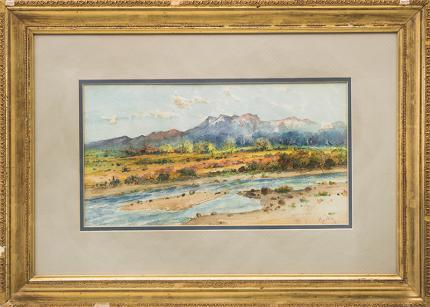 John Howard Martin, mountain landscape river, watercolor painting fine art for sale purchase buy sell auction consign denver colorado art gallery museum