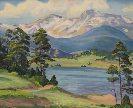 "Alfred Wands, ""Untitled (Colorado Mountains and Lake)"", oil painting fine art for sale purchase buy sell auction consign denver colorado art gallery museum"