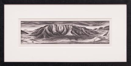 """Frank Mechau, """"Red Mountain of Glenwood (Colorado)"""", lithograph, 1937 painting fine art for sale purchase buy sell auction consign denver colorado art gallery museum"""