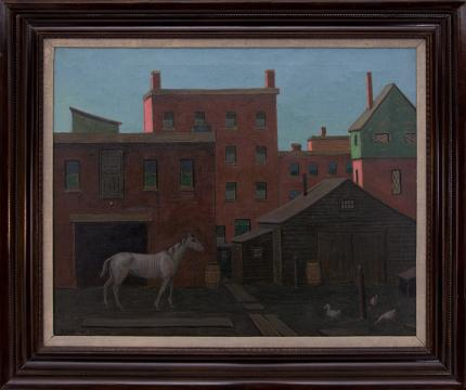 "Francis Drexel Smith, ""Untitled (Horse Stable in an Urban Landscape)"", oil, circa 1930 painting fine art for sale purchase buy sell auction consign denver colorado art gallery museum"