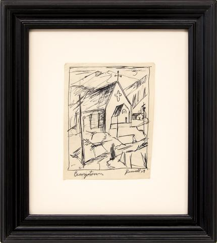 Charles Ragland Bunnell art for sale, Georgetown, Church in the Mountains, Colorado, ink drawing painting, 1938