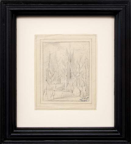 Charles Bunnell vintage art for sale, Forest Interior, Aspen and Pine Trees, colorado, graphite drawing, sketch, September 29th, 1939, broadmoor academy, wpa era