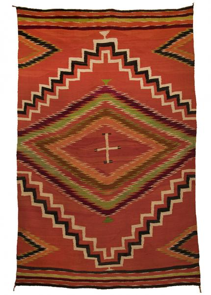 Navajo Blanket serape germantown cross  19th century Native American Indian antique vintage art for sale purchase auction consign denver colorado art gallery museum