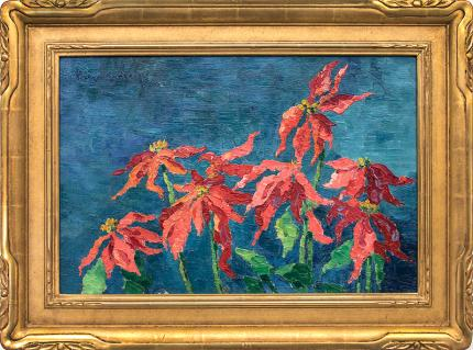 Birger Sandzen poinsettia still life floral oil painting fine art for sale purchase buy sell auction consign denver colorado art gallery museum
