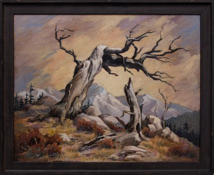 "Inez Tatum, ""Conversation"", mountain landscape old tree oil painting fine art for sale purchase buy sell auction consign denver colorado art gallery museum"