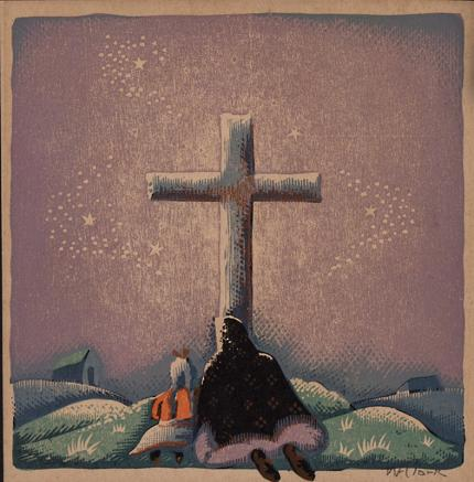 willard clark woodblock woodcut new mexico kneeling at the cross painting fine art for sale purchase buy sell auction consign denver colorado art gallery museum