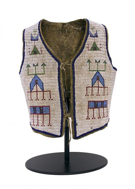 Vest, Sioux, circa 1875-1900 beadwork pictorial tepee tipi 19th century Native American Indian antique vintage art for sale purchase auction consign denver colorado art gallery museum