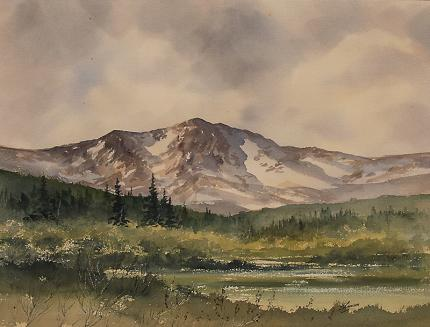 """Herbert Thomson, """"Moraine Park, Rocky Mountain National Park"""" Colorado watercolor painting fine art for sale purchase buy sell auction consign denver colorado art gallery museum"""