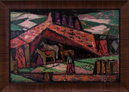 "Erle Loran, ""Untitled (Southwestern Indian Scene)"", oil, 1950 painting fine art for sale purchase buy sell auction consign denver colorado art gallery museum"