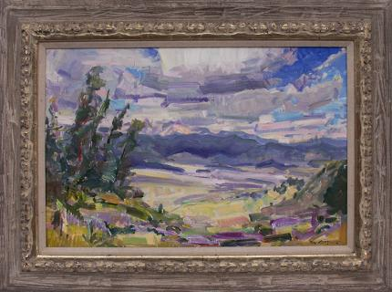 "Rod Goebel, ""Cloud Shadows Over Moreno Valley (California)"", oil painting fine art for sale purchase buy sell auction consign denver colorado art gallery museum"