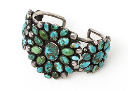 Zuni cuff Bracelet silver turquoise old pawn jewelry cuff 19th century Native American Indian antique vintage art for sale purchase auction consign denver colorado art gallery museum