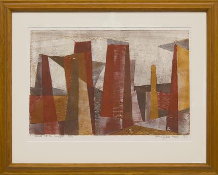 "Hildegarde Haas, ""Pillars of the Canyon; 12/12"", woodcut (Woodblock), 1951 painting fine art for sale purchase buy sell auction consign denver colorado art gallery museum"