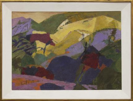 """Ethel Magafan, """"Mountains Above the Meadow"""", tempera painting fine art for sale purchase buy sell auction consign denver colorado art gallery museum"""