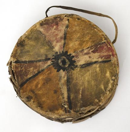 Plains Drum circa 1900-1925 19th century Native American Indian antique vintage art for sale purchase auction consign denver colorado art gallery museum