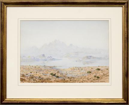 George Elbert Burr, A Mirage, Desert Landscape, Arizona, watercolor, painting, for sale, vintage, 1927, 1920s, desert, mountains, clouds, cactus, cacti, southwestern, blue, beige, brown, green, white, tan