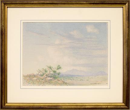 George Elbert Burr, Morning Near Arizona Desert Landscape, vintage, original, drawing, painting, 19th century, 1888, antique, blue, green, brown, beige