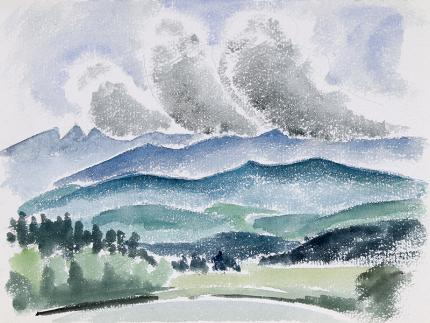 """Arnold Ronnebeck landscape painting for sale, """"Mountains and Lake, Colorado"""", watercolor"""