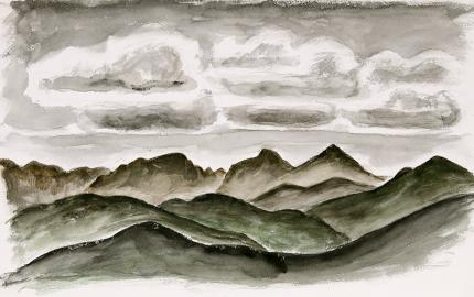 "Arnold Ronnebeck landscape painting for sale, ""Mountains and Sky, Colorado"", watercolor"