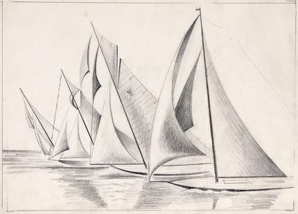 "Arnold Ronnebeck, ""Sailboats"", mixed media, circa 1932-36 original vintage signed drawing colorado artist"