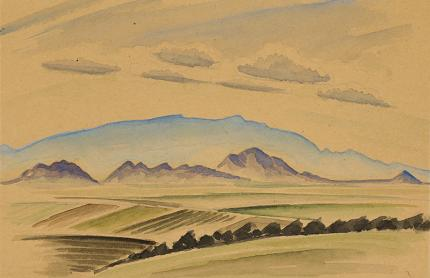 Arnold Ronnebeck, Sandia Mountains, New Mexico, vintage painting for sale, circa 1927, watercolor, yellow, green, blue