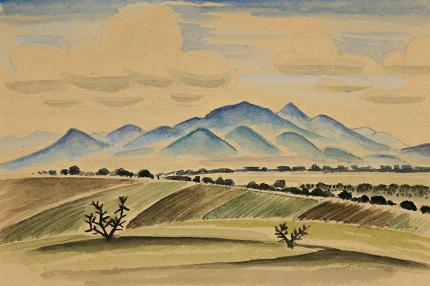 "Arnold Ronnebeck, ""Fields and Mountains, New Mexico"", watercolor, vintage landscape painting for sale, circa 1927"