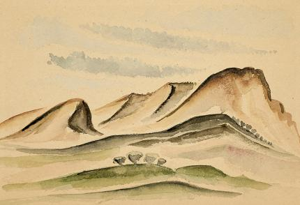 Arnold Ronnebeck, New Mexico Hills, watercolor, circa 1927, vintage landscape painting for sale, green, brown, blue