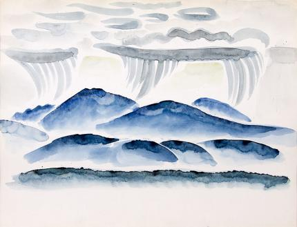 """Arnold Ronnebeck, """"Blue Mountains in Rain, New Mexico"""", watercolor, painting for sale,  circa 1927, vintage, original, signed, blue, white, green"""