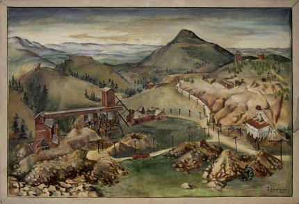 "Eldora Pauline Lorenzini, ""Untitled (Colorado Mine)"", oil, circa 1935 painting fine art for sale purchase buy sell auction consign denver colorado art gallery museum"