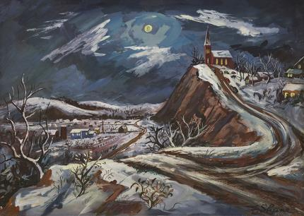 """Frederick Shane, """"Silent Night"""", gouache, circa 1940 painting fine art for sale purchase buy sell auction consign denver colorado art gallery museum"""
