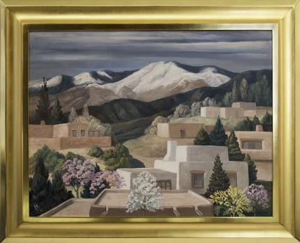 "Anna Elizabeth Keener, ""May 1, 1970 (Taos, New Mexico)"", oil, circa 1970 painting fine art for sale purchase buy sell auction consign denver colorado art gallery museum"