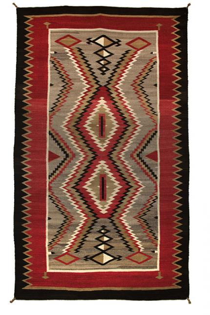 vintage navajo trading post rug ganado red brown ivory white black camel  19th century Native American Indian antique vintage art for sale purchase auction consign denver colorado art gallery museum