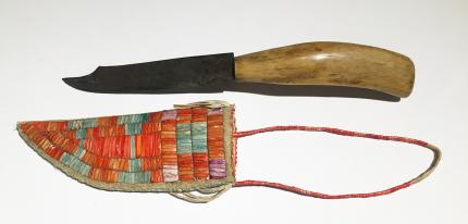 Sioux Knife Sheath quilled Child Toy Miniature quillwork 19th century Native American Indian antique vintage art for sale purchase auction consign denver colorado art gallery museum