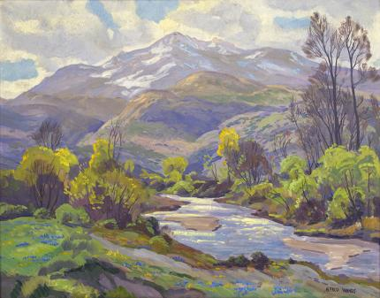 """Alfred Wands, """"Behold the Mountains"""" landscape circa 1965 oil painting fine art for sale purchase buy sell auction consign denver colorado art gallery museum"""
