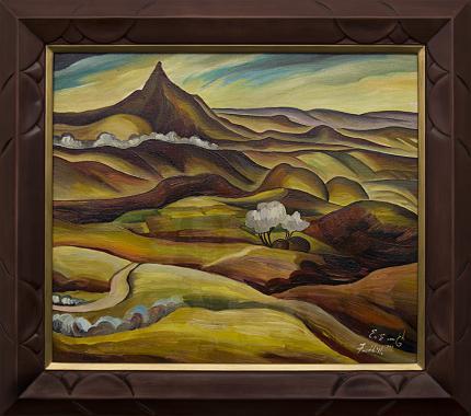 "Eve Drewelowe (Van Ek), ""Foothills (Colorado)"", oil, 1944 painting fine art for sale purchase buy sell auction consign denver colorado art gallery museum"
