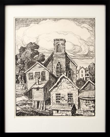 """Birger Sandzen, """"In Old Central City (Colorado Mining Town)"""", lithograph, 1933 sven original vintage signed painting fine art for sale purchase buy sell auction consign denver colorado art gallery museum"""