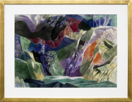 Ethel Magafan abstract painting for sale, On Coming Storm, Colorado Mountain Landscape, watercolor, mid-century modern, semi-abstract, woman artist, broadmoor academy, woodstock,  blue, green, red purple, yellow, black, white, turquoise