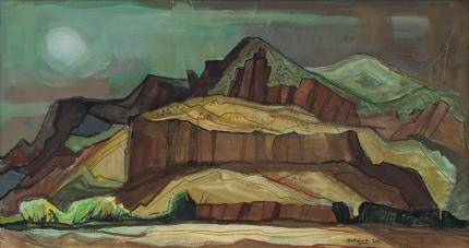 Doel Reed Spring Storm 1980 casein painting southwest landscape modernist vintage oklahoma colorado new mexico butte desert