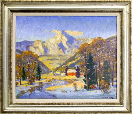 """Harold Skene vintage painting for sale, Colorado Winter (Mountain Landscape with river and Snow)"""", oil, 1968 cabin art"""