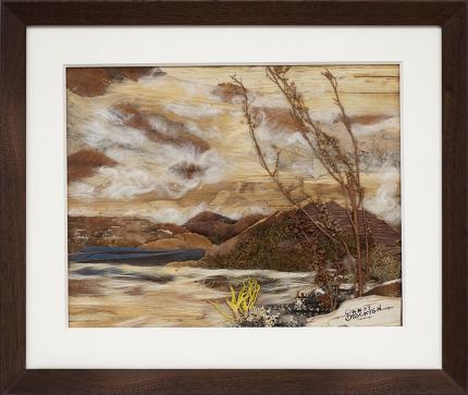 "Pansy Stockton, Sun painting assemblage ""Sunset on Storrie Lake (New Mexico Landscape)"", landscape, circa 1930, cornelia"