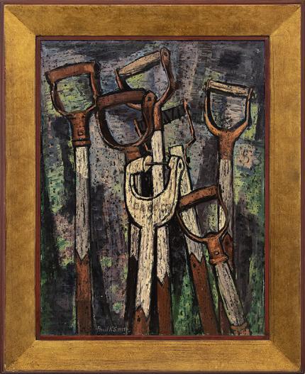 "Paul K Smith, ""Shovel Handles"", oil painting, vintage 1954, modernist signed denver artist"