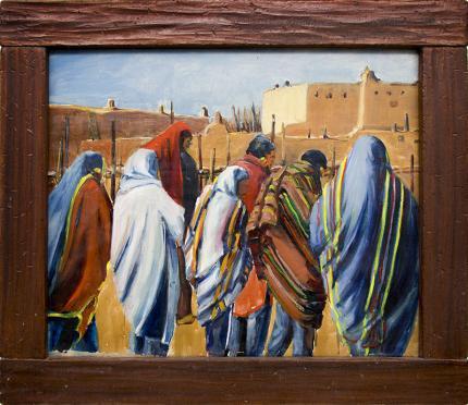 Wolfgang Pogzeba vintage oil painting for sale, Native American Men Standing at Taos Pueblo, blankets, adobe oil, American Indian Art