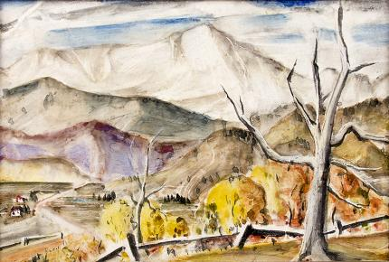Charles Bunnell original vintage oil painting for sale, 1940s, Pikes Peak, Modernist Colorado Mountain Landscape painting, tempera