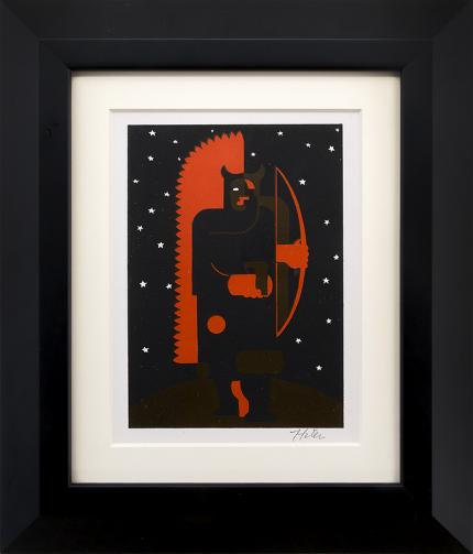 """Hilaire Hiler vintage art for sale, """"Indian with Bow in Fox Costume"""", serigraph/silkscreen, 1934"""