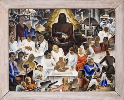Virginia True, Home Economics, oil painting, vintage, circa 1937, art for sale, cornell university, mural study, woman artist, prospectors, brown, white, red, blue, gold, yellow, black