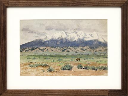 """Charles Partridge Adams, """"Untitled (Blanca Peak, Sangre de Cristo Range, from the San Luis Valley, Colorado)"""", watercolor, circa 1915, vintage painting for sale, landscape, colorado art"""