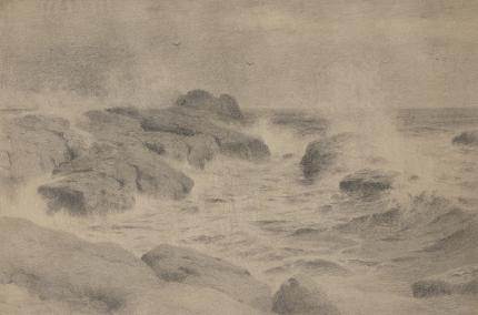 """Charles Partridge Adams, """"Untitled (Crashing Waves, California Coast)"""", graphite, early 20th century, landscape, marine, drawing for sale, vintage"""